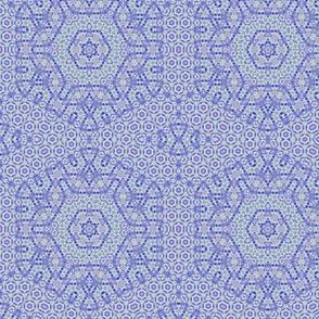 Blue oriental geometric elegant hexagon  pattern