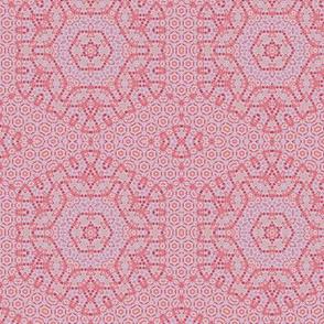 Red oriental geometric elegant hexagon  pattern