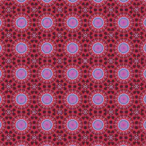 Vivid red blue boho mandala pattern