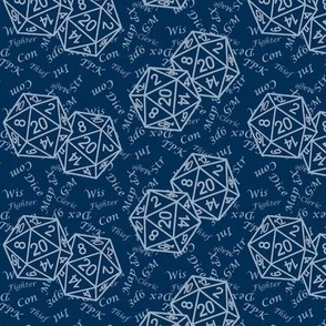 Two d20 Repeat Midnight Blue Background with Text by Shari Lynn's Stitches