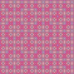 Oriental  pink square geometric pattern
