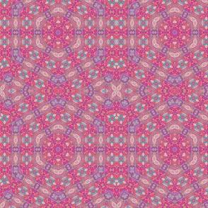 Oriental  pink hexagon geometric pattern