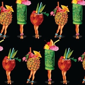Tiki Cocktail Pin-Ups - Black