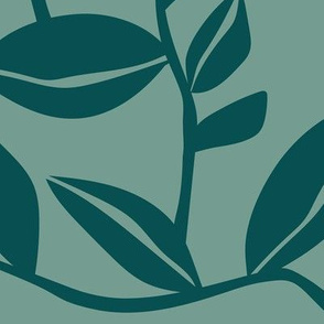 Orchard - Botanical Leaves Green Teal Large Scale