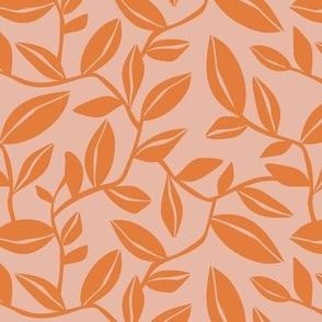 Orchard - Botanical Leaves Blush Pink and Orange Regular Scale
