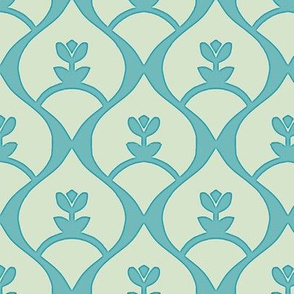 Pretty Maids on a Bow (Endless Paper Cut) Pale Sage & Turquoise Blue