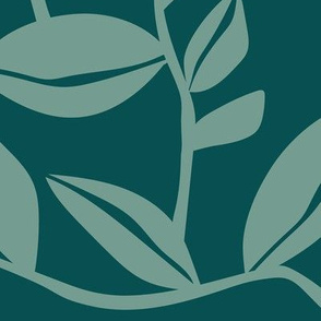 Orchard - Botanical Leaves Teal Green Large Scale