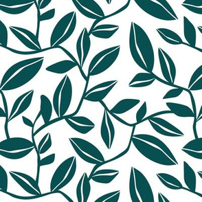 Orchard - Botanical Leaves White Teal Regular Scale
