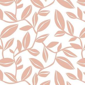 Orchard - Botanical Leaves White Blush Pink Regular Scale