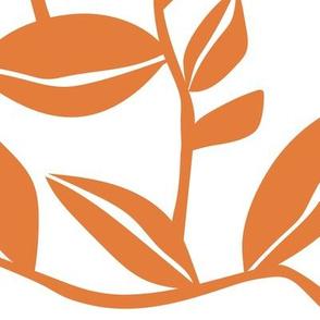 Orchard - Botanical Leaves White Orange Large Scale