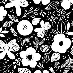 Butterfly + Bloom on black