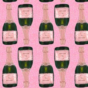"champagne bottles on pink - 8.5"" bottles basic repeat"
