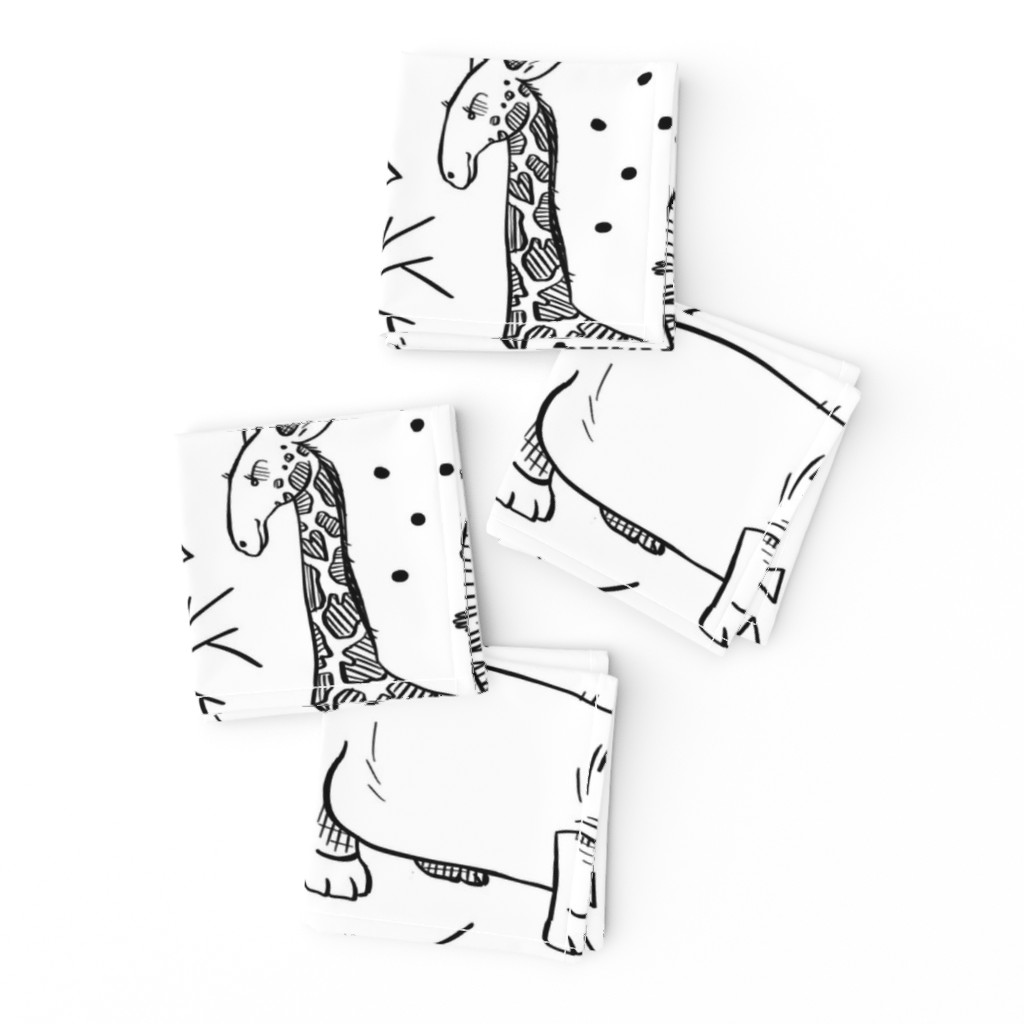 Frizzle Cocktail Napkins featuring Safari Party - Line Drawing by taraput