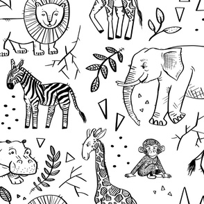 Safari Party - Line Drawing