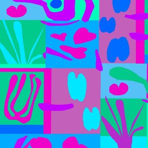 Ode to Matisse Paper Cut Flowers - Wallpaper