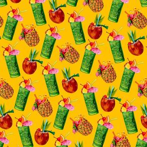Tiki Cocktail Pattern -  Yellow