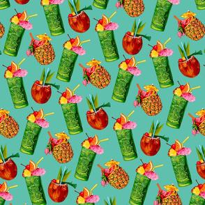 Tiki Cocktail Pattern - Teal