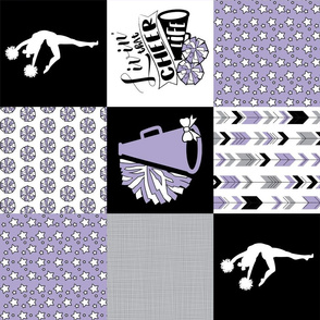 CheerLife//Purple - Wholecloth Cheater Quilt - Rotated