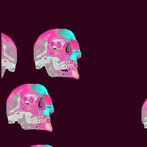 Pink and blue skull on dark red