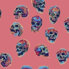 Salmon Background Blue Colorful Skulls