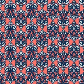 Coral Tiles with Navy