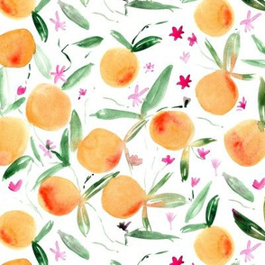 Tangerine bloom ★ watercolor citrus with flowers for modern home decor, bedding, nursery, kitchen