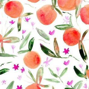 Large scale tangerine bloom ★ watercolor citrus fruits with flowers for modern home decor, kitchen, bedding, nursery