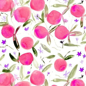 Grapefruits in bloom - watercolor pink citruses with flowers