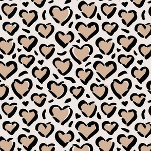 Leopard love minimal abstract hearts raw inky style panther print animal design latte beige off white