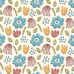 Papercut Matisse style Crayon textured Wallpaper Fabric