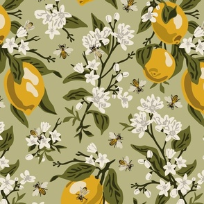 Bees And Lemons - Green - Large - Green Leaves