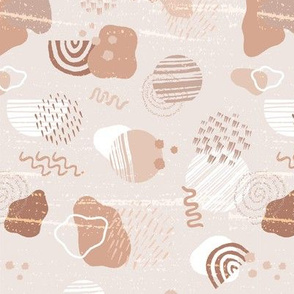 Modern Geometric and Abstract  Shapes in Dusty Rose