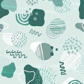 Modern Geometric and Abstract Shapes in Mint Green