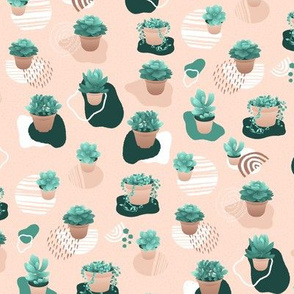 Geometric shapes with Succulents, Pink and Green