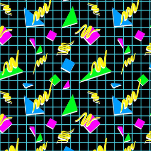 80s geometric on black