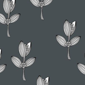 Sweet berries blossom boho flower minimal Scandinavian garden botanical design nursery baby cool stone charcoal gray