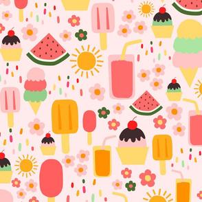 (L) Summertime Treats - Large on Soft Pastel Pink