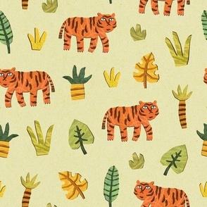 Funny tiger in a paper cut jungles