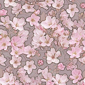 Indian Hawthorn Blossoms Pink on Grey