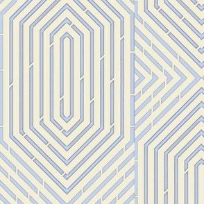 Labyrinth Geometric Periwinkle Blue & Cream