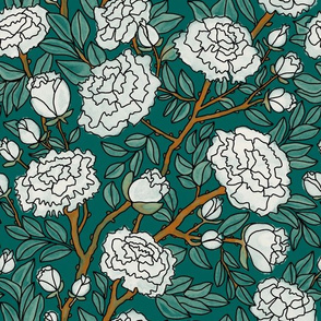White Peonies on Emerald