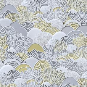 Paper Garden Large- Floral Faux Texture- Paper Cut Napkins- Yellow and Gray Home Decor- Jumbo Scale Botanical Wallpaper