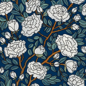 White Peonies on Midnight Blue