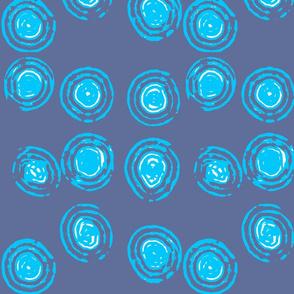 electric blue circles - abstract modern print