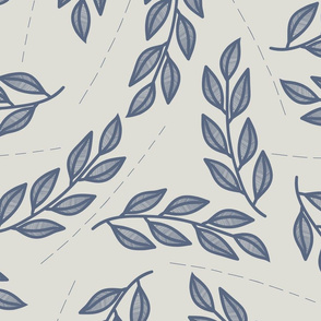 Larger scale lined leaves with dashed lines // Blue and grey