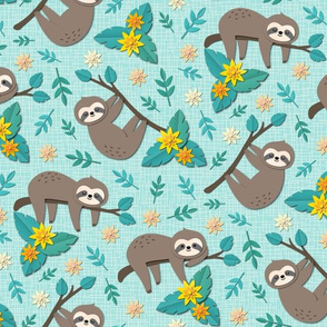 sloth papercut small teal
