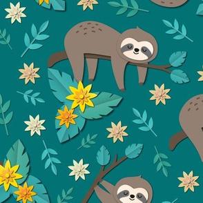 sloth papercut big green