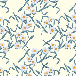 Papercut Daffodils on Cream