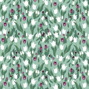 Purple White Papercut Tulips on Mint