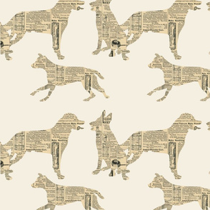 Paper cutout dogs  Beige cream